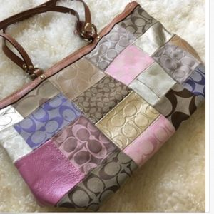 COACH L0769-10620 Patchwork Jacquard Purse
